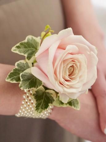 Soft Pink Rose & Pearl Wrist Corsage