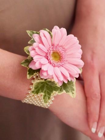 Pale Pink Germini & Pearl Wrist Corsage