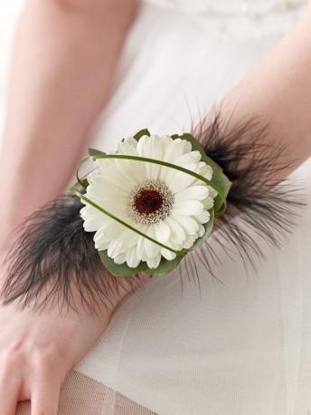 White Germini & Feather Wrist Corsage