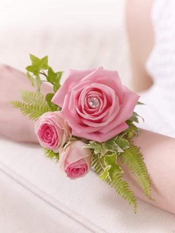 Pink Rose & Fern Wrist Corsage