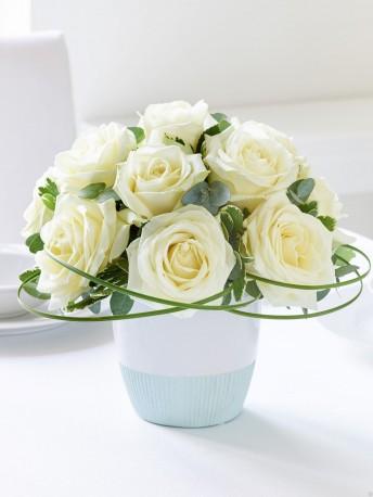 Classic Chic White Rose Arrangement
