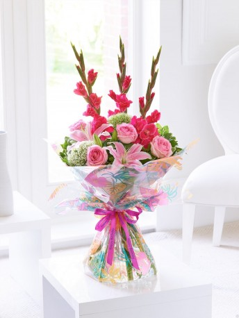 Happy Birthday Summer Gladioli, Lily and Rose Hand-tied