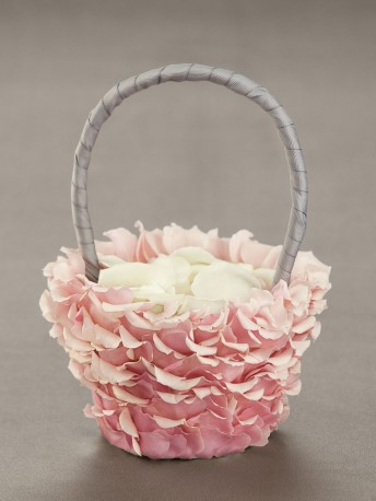 Pink Petal Flower Girl Basket