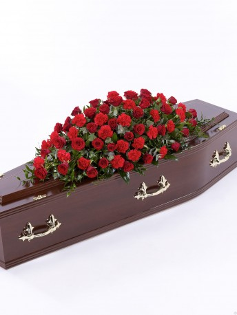 Rose and Carnation Casket Spray Red