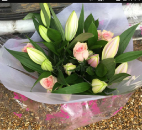 Happy Birthday Pink Rose & Lily Hand-tied