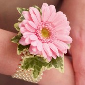 Pale Pink Germini & Pearl Wrist Corsage