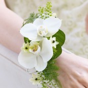 White Orchid & Fern Wrist Corsage