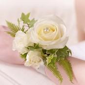 Ivory Rose & Fern Wrist Corsage