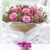 Happy Birthday Pink Lisianthus & Rose Hand-tied