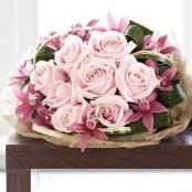 Luxury Rose and Mini Cymbidium Orchid Hand-tied