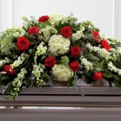 Mixed Casket Spray - Red and Green
