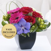 Rose, Gerbera and Vanda Orchid Arrangement