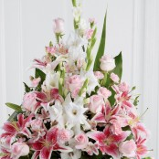 Pink Rose, Lily and Gladioli Service Arrangement Pink Rose Lily and Gladioli Service Arrangement