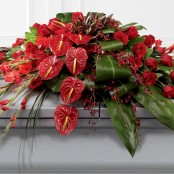 Rose, Orchid and Anthurium Casket Spray Rose Orchid and Anthurium Casket Spray