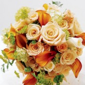 Sweet Peach Rose & Calla Lily Bridal Bouquet
