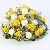 Rose and Freesia Posy Yellow & White