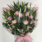 Pink Lily and Rose Presentation Bouquet